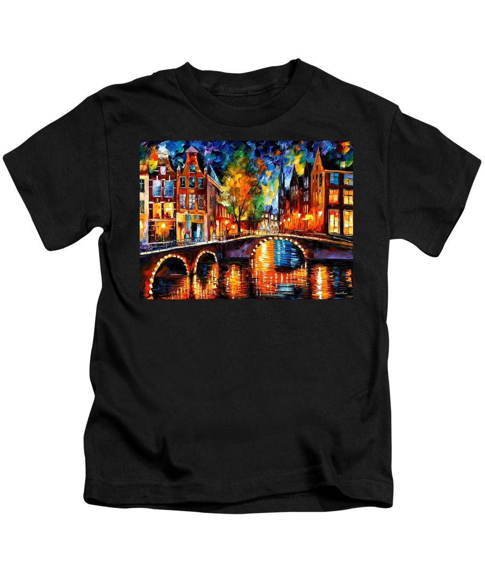 Afremov Kids T-Shirt featuring the painting The Bridges Of Amsterdam by Leonid Afremov