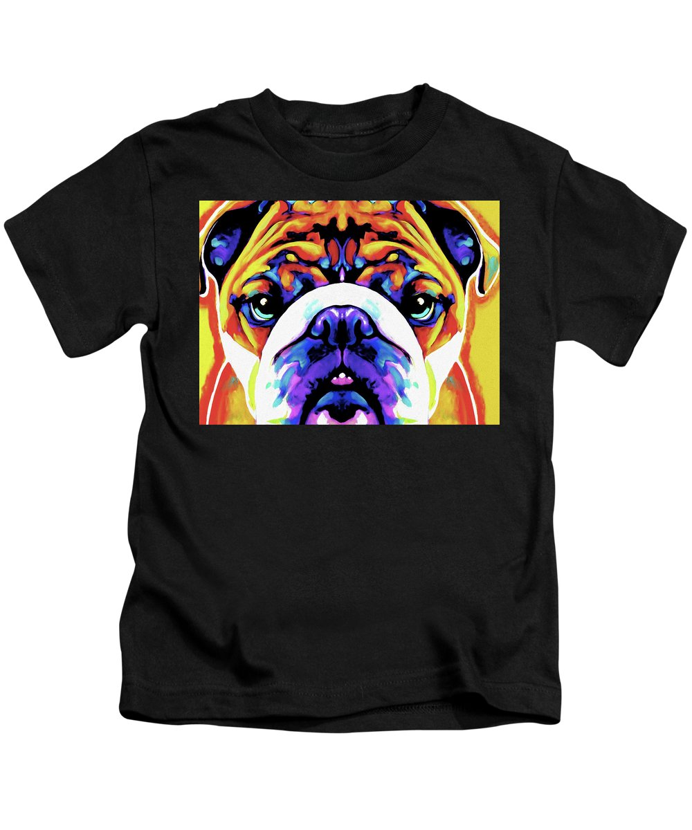 Bulldog Kids T-Shirt featuring the painting The Bulldog By Nixo by Supreme Inc