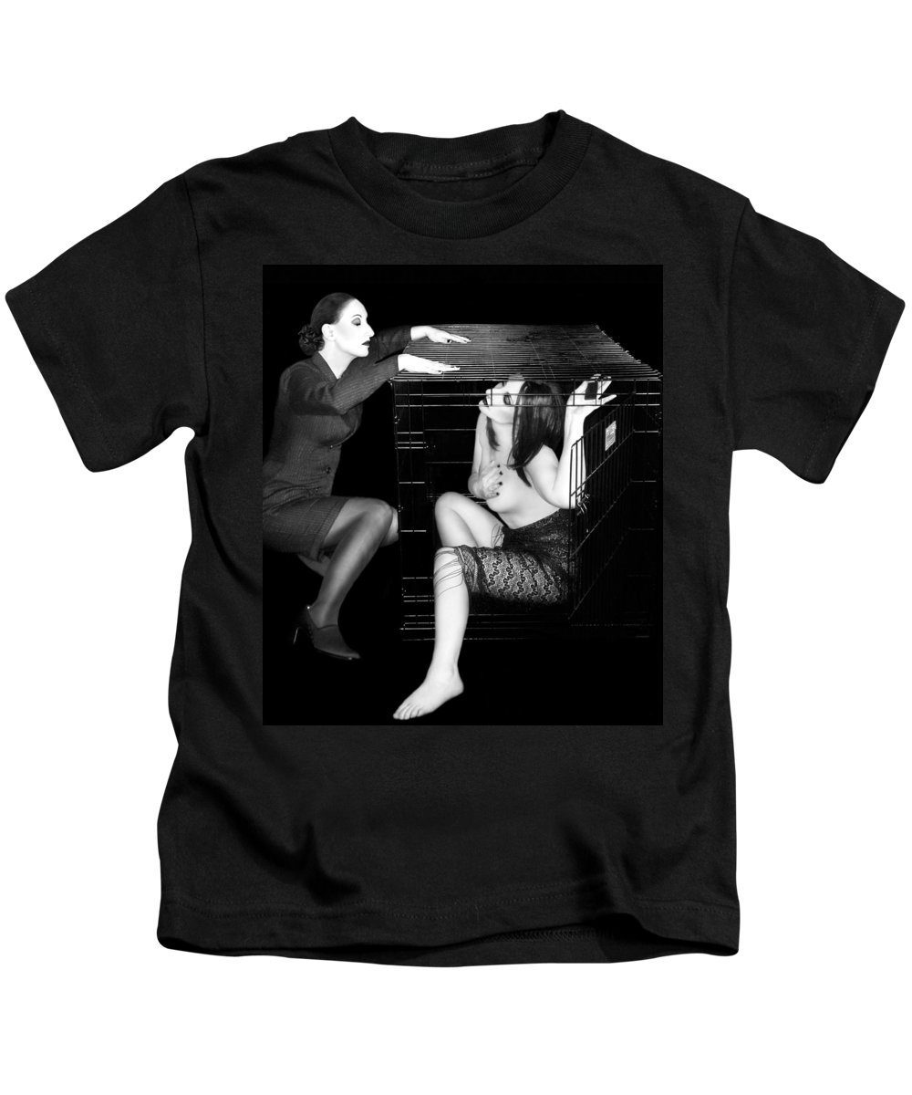Art Kids T-Shirt featuring the photograph The Cage 2 - Self Portrait by Jaeda DeWalt