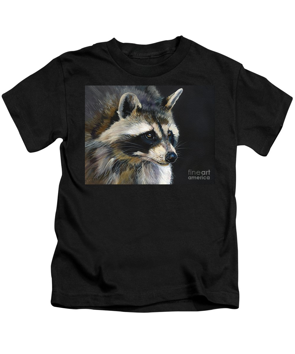 Indigenous Wildlife Kids T-Shirt featuring the painting The Cat Food Bandit by J W Baker