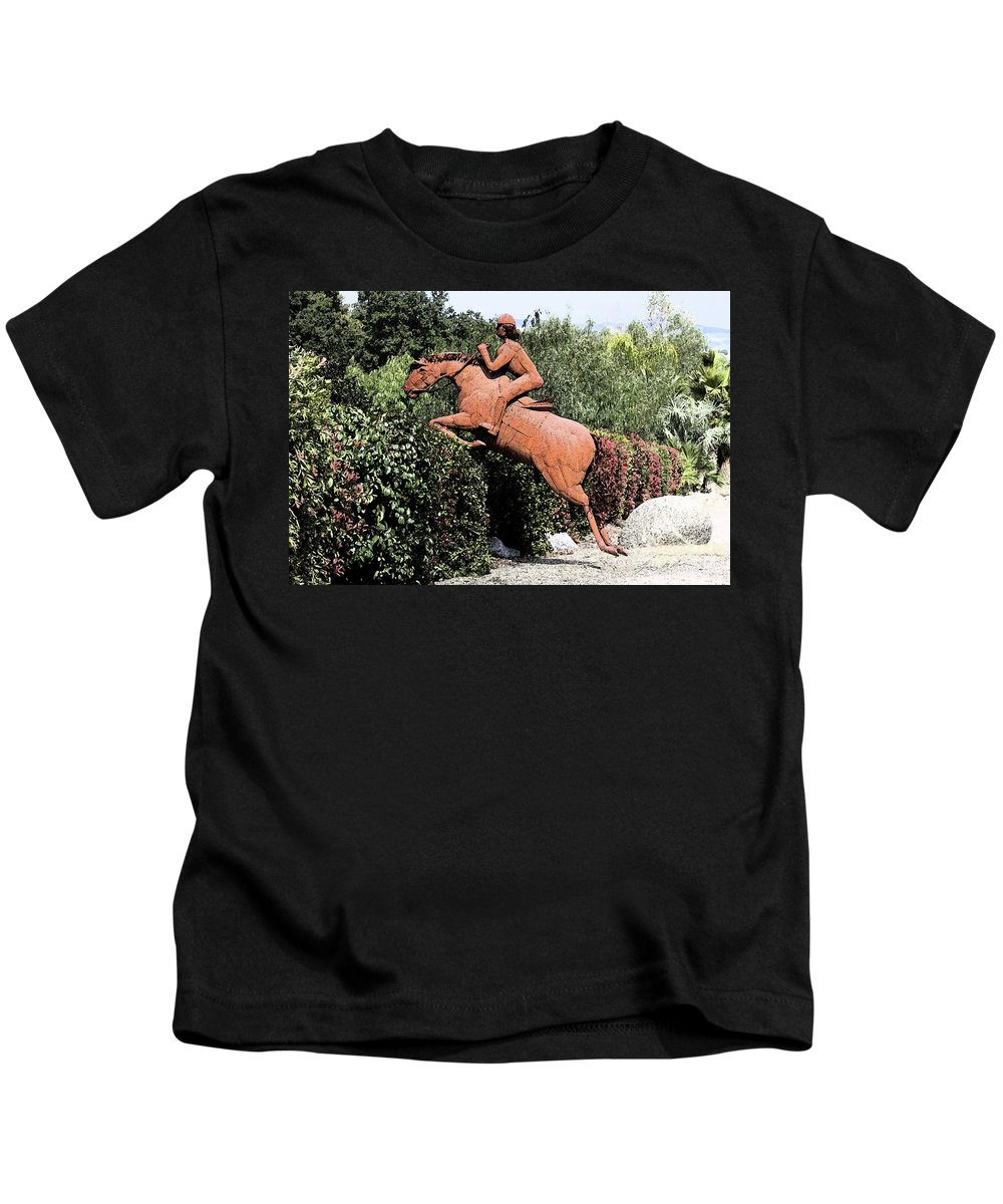 Horse Kids T-Shirt featuring the digital art The Chase by Tommy Anderson