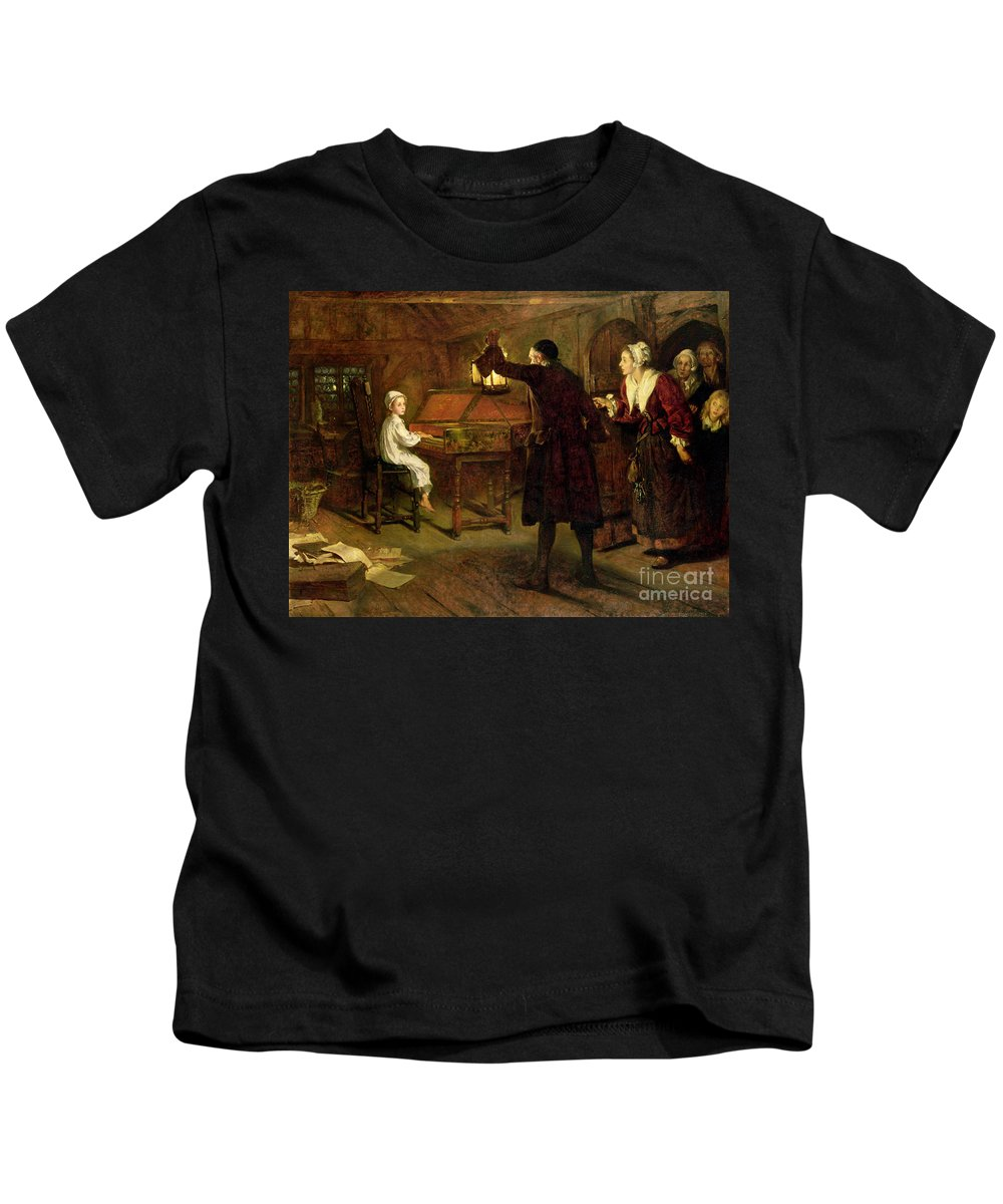 The Child Handel Kids T-Shirt featuring the painting The Child Handel Discovered By His Parents by Margaret Isabel Dicksee