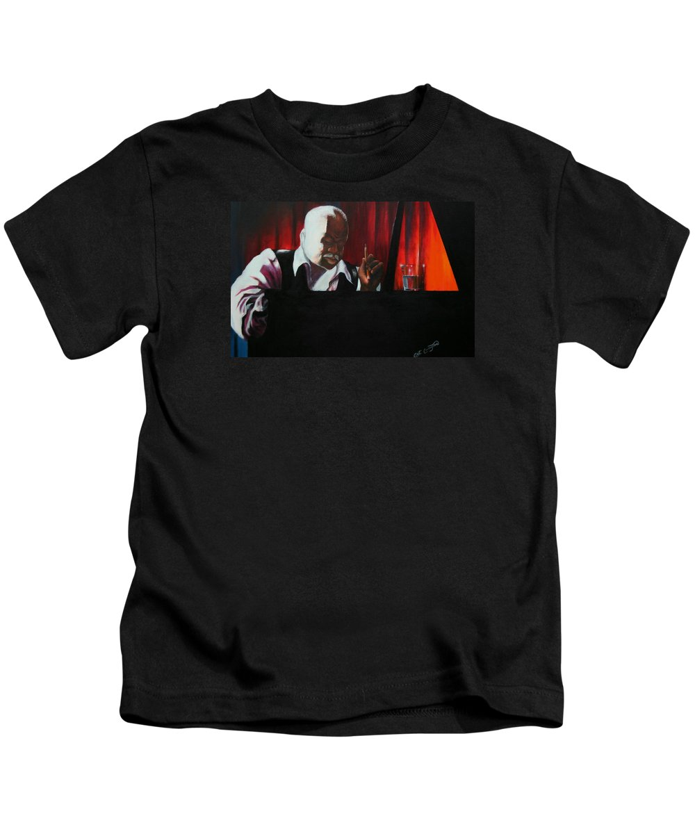 Jazz Musician Kids T-Shirt featuring the painting The Composer by Arthur Covington