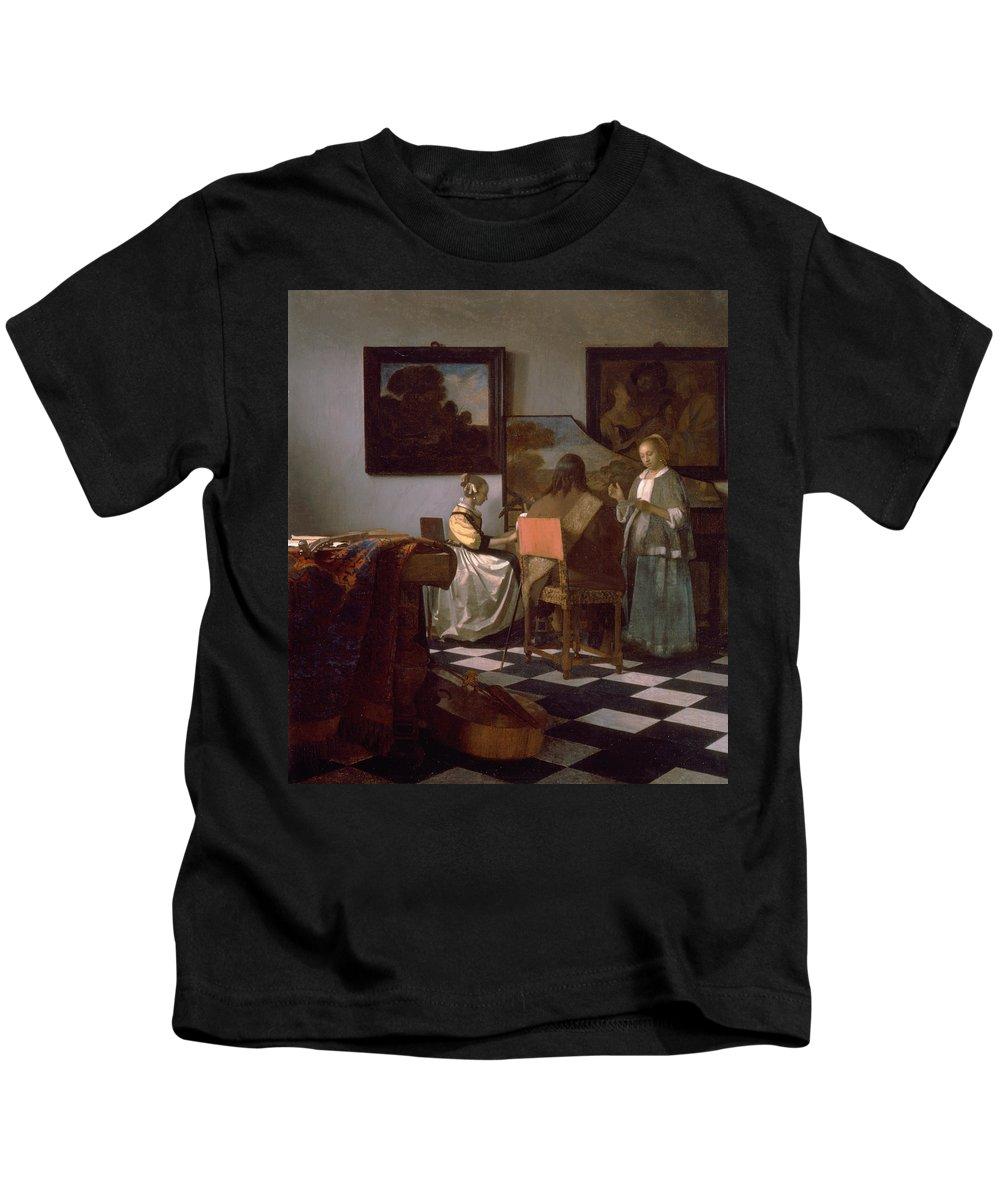 Jan Vermeer Kids T-Shirt featuring the painting The Concert by Jan Vermeer