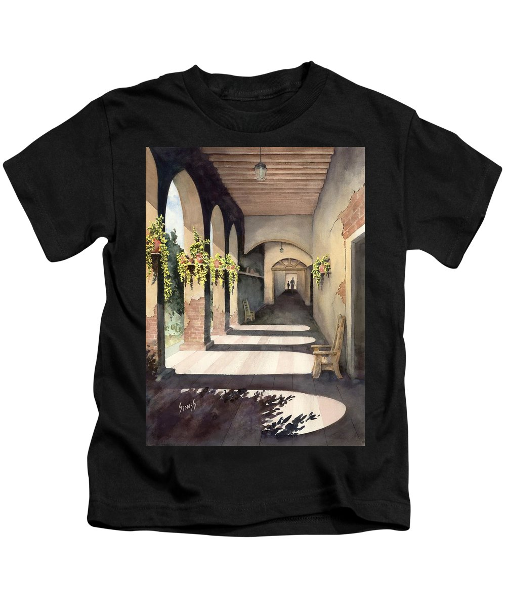 Plants Kids T-Shirt featuring the painting The Corridor 2 by Sam Sidders