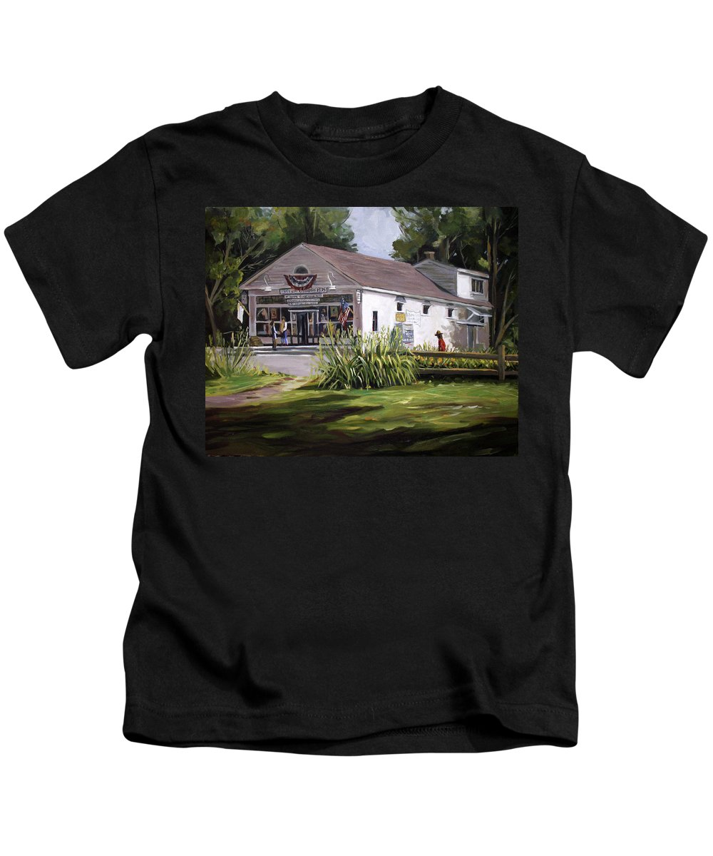 Buildings Kids T-Shirt featuring the painting The Country Store by Nancy Griswold