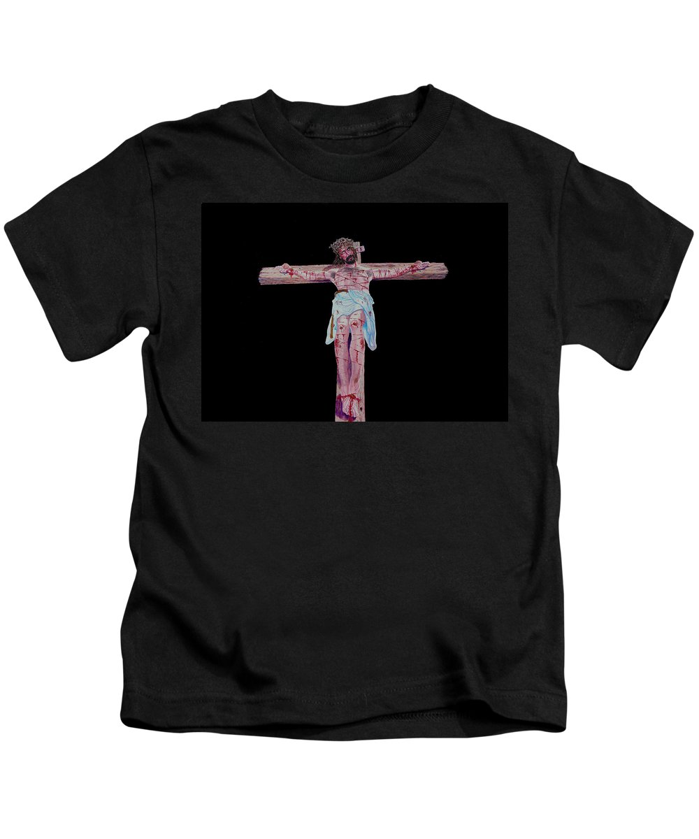 Crucifixion Kids T-Shirt featuring the painting The Crucifixion by Stan Hamilton