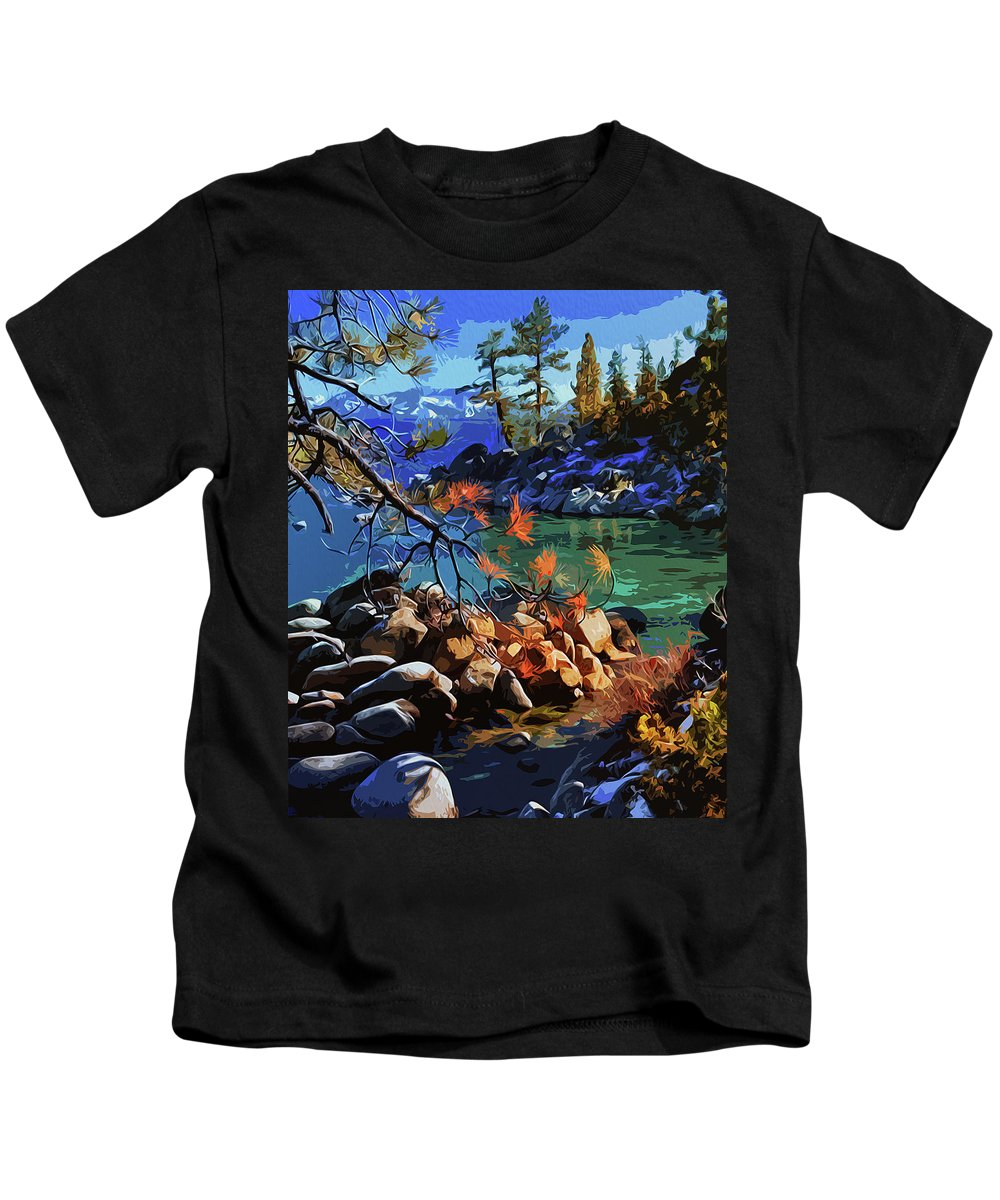 Sierra Nevada Kids T-Shirt featuring the painting The Crystal Waters Of Lake Tahoe by Andrea Mazzocchetti