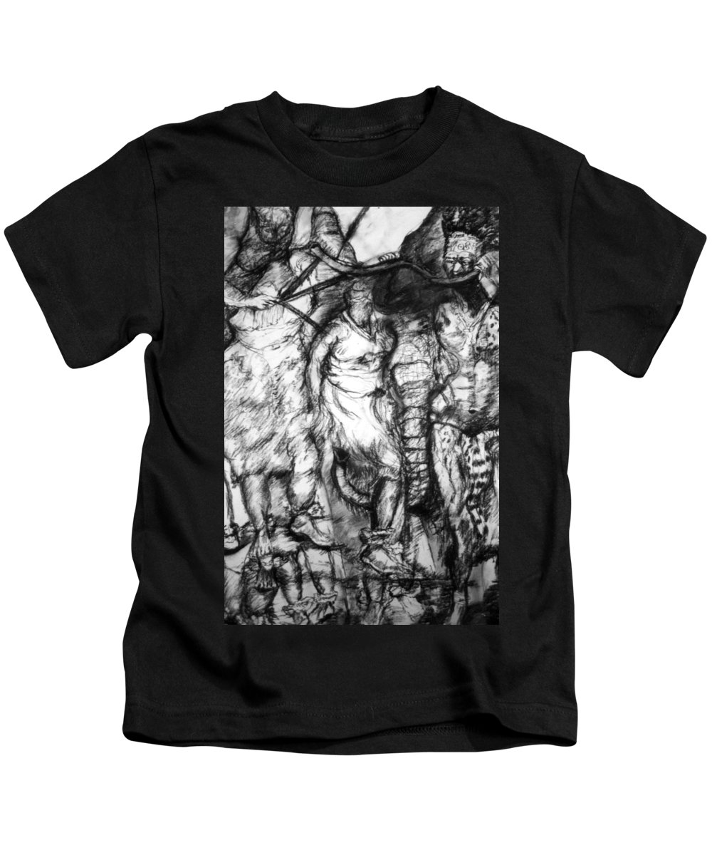 African Art Kids T-Shirt featuring the drawing The Dance by Arlene Rabinowitz