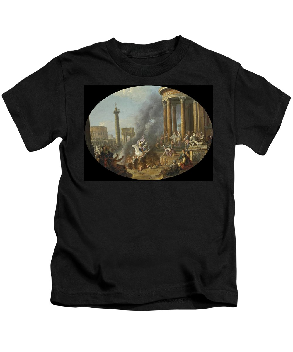 Antonio Joli Kids T-Shirt featuring the painting The Death Leap Of Marcus Curtius by Antonio Joli
