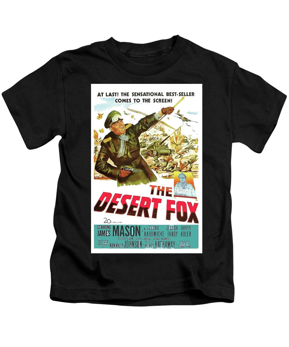 The Desert Fox James Mason Theatrical Poster Number 3 1951 Color Added 2016 Kids T-Shirt featuring the photograph The Desert Fox James Mason Theatrical Poster Number 3 1951 Color Added 2016 by David Lee Guss