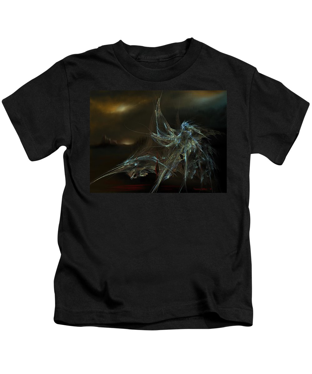 Dragon Warrior Medieval Fantasy Darkness Kids T-Shirt featuring the digital art The Dragon Warrior by Veronica Jackson