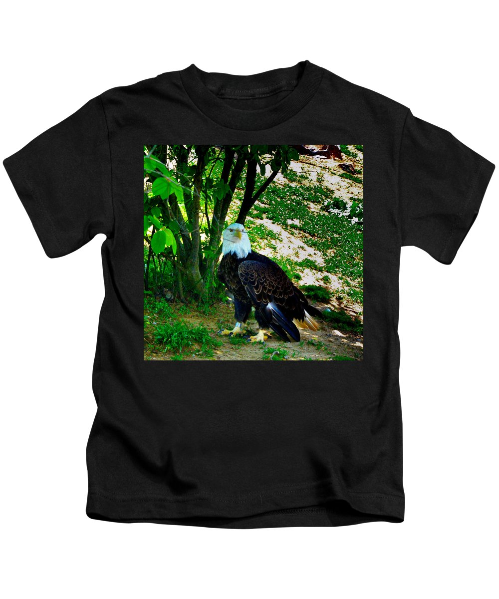 Eagle Kids T-Shirt featuring the photograph The Eagle Has Landed by Bill Cannon