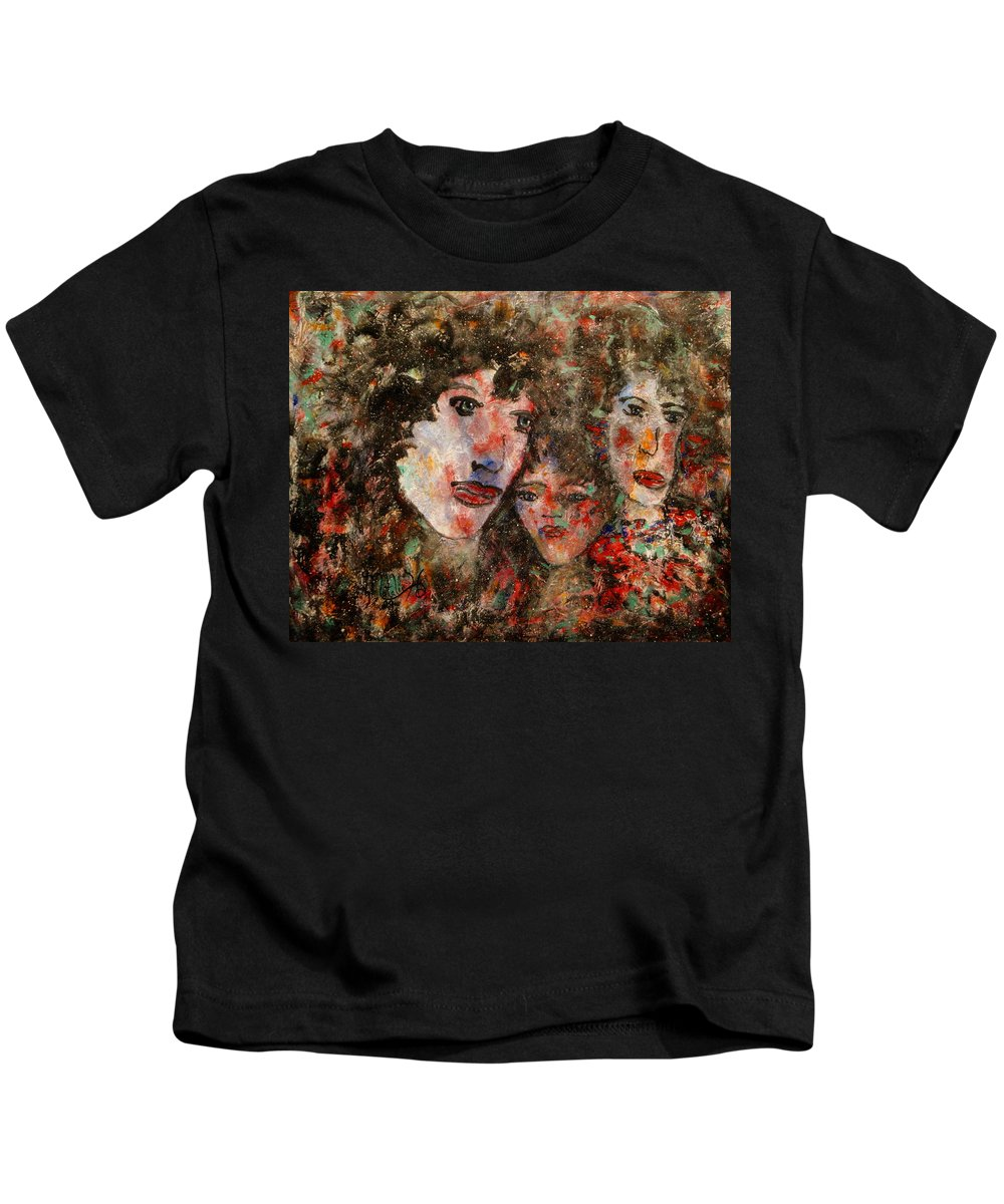 Family Kids T-Shirt featuring the painting The Family That Plays Together Stays Together by Natalie Holland