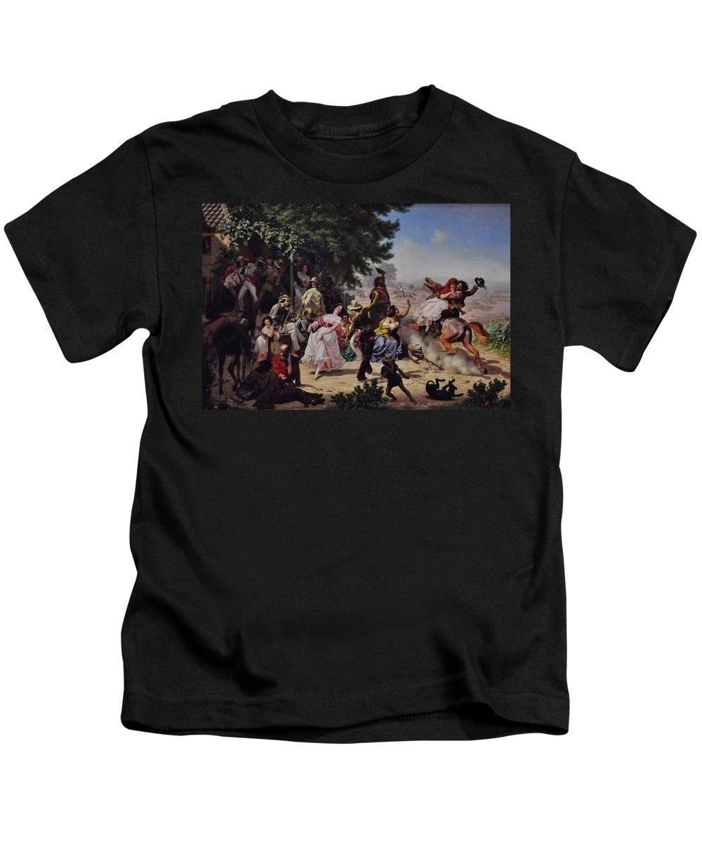 The Fandango Kids T-Shirt featuring the digital art The Fandango by Charles Nahl