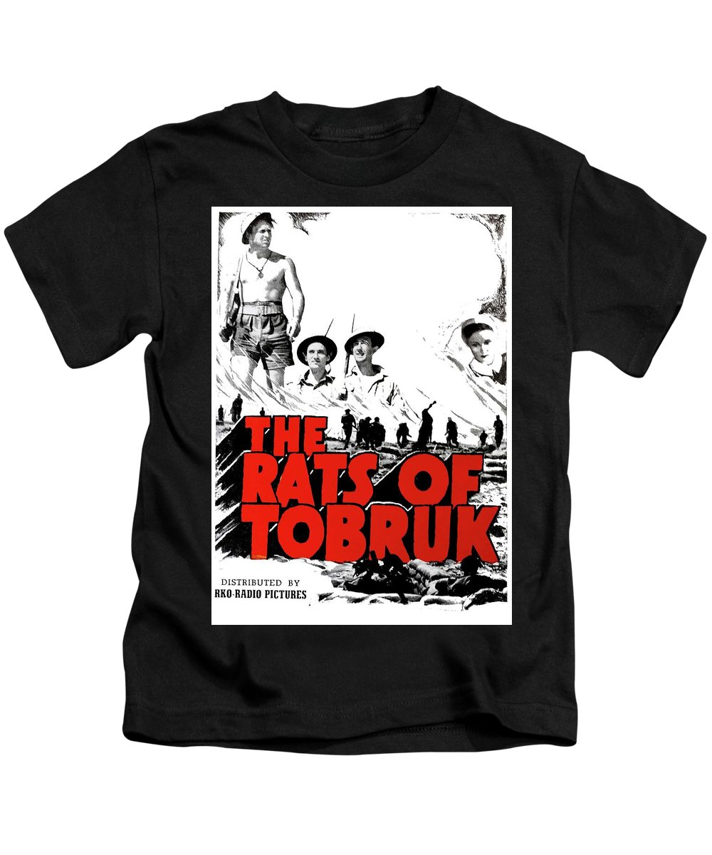 The Fighting Rats Of Tobruk Theatrical Poster 1944 Color Added 2016 Kids T-Shirt featuring the photograph The Fighting Rats Of Tobruk Theatrical Poster 1944 Color Added 2016 by David Lee Guss