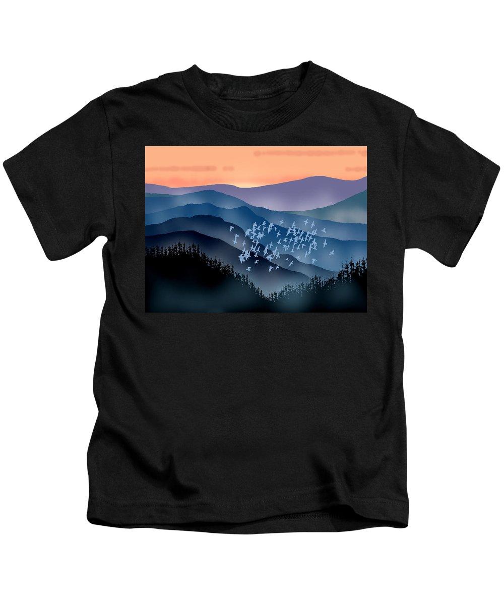 Birds Kids T-Shirt featuring the painting The Flock by Paul Sachtleben