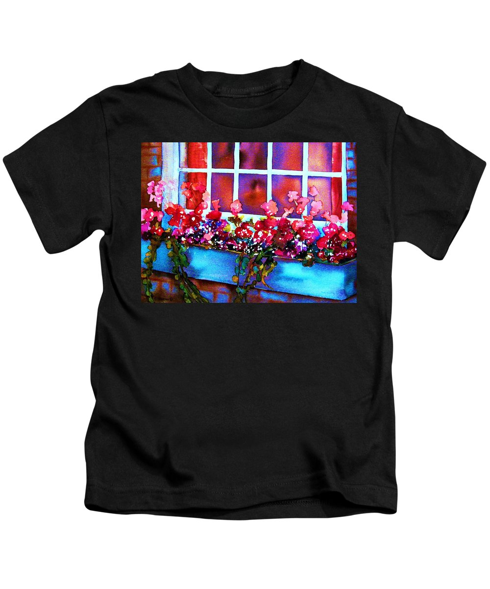 Flowerbox Kids T-Shirt featuring the painting The Flowerbox by Carole Spandau