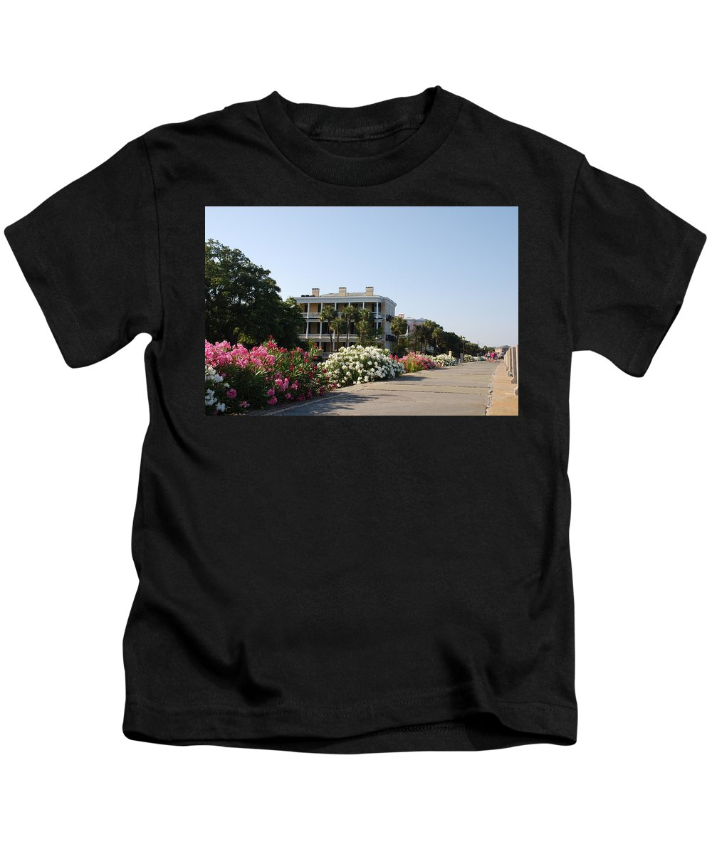 Photography Kids T-Shirt featuring the photograph The Flowers At The Battery Charleston Sc by Susanne Van Hulst