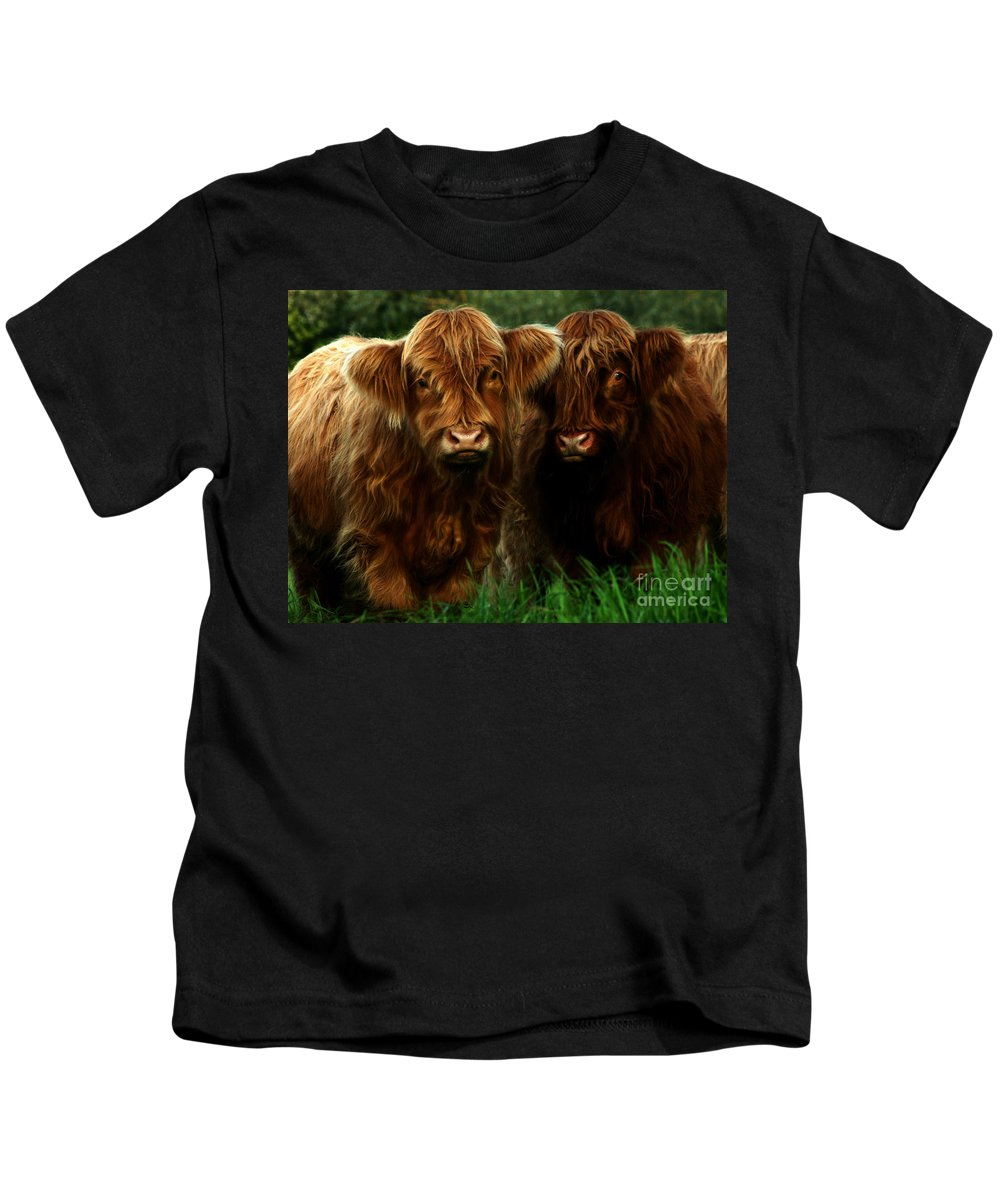 Heilan Coo Kids T-Shirt featuring the photograph The Fluffy Cows by Angel Tarantella