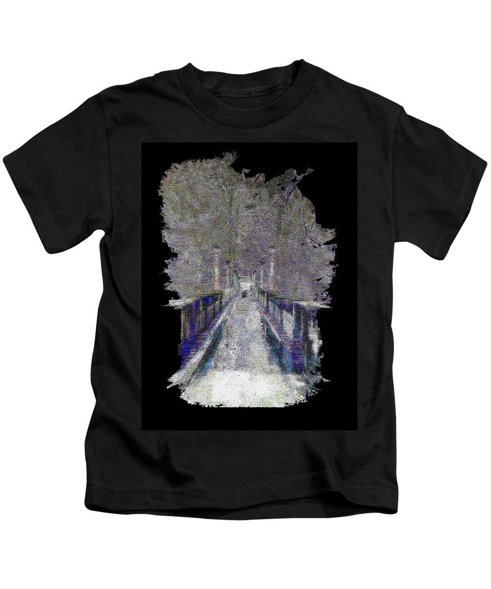 Abstract Kids T-Shirt featuring the digital art The Foot Bridge by Tim Allen