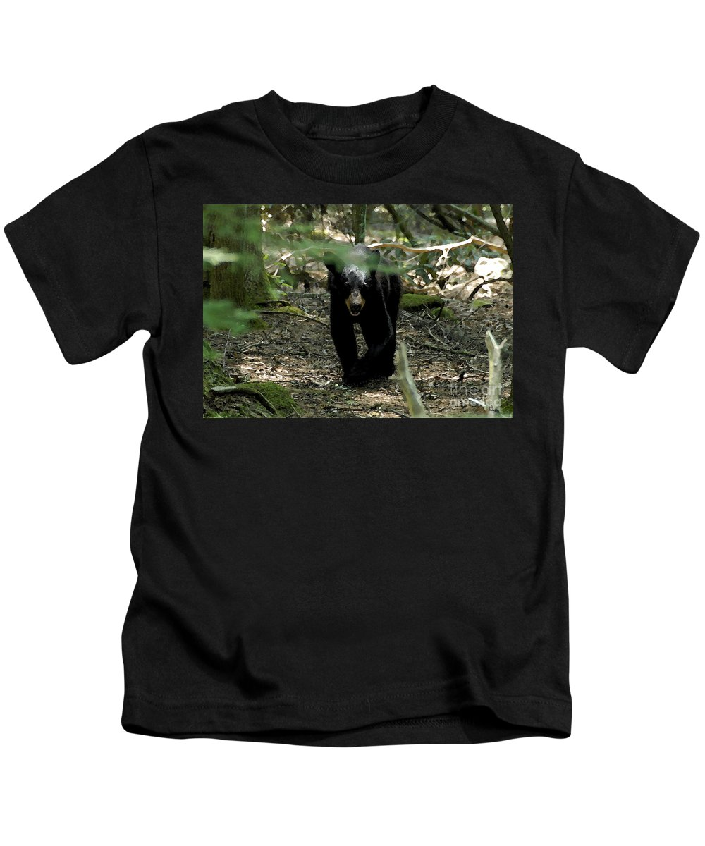 Black Bear Kids T-Shirt featuring the painting The Forest Bear by David Lee Thompson