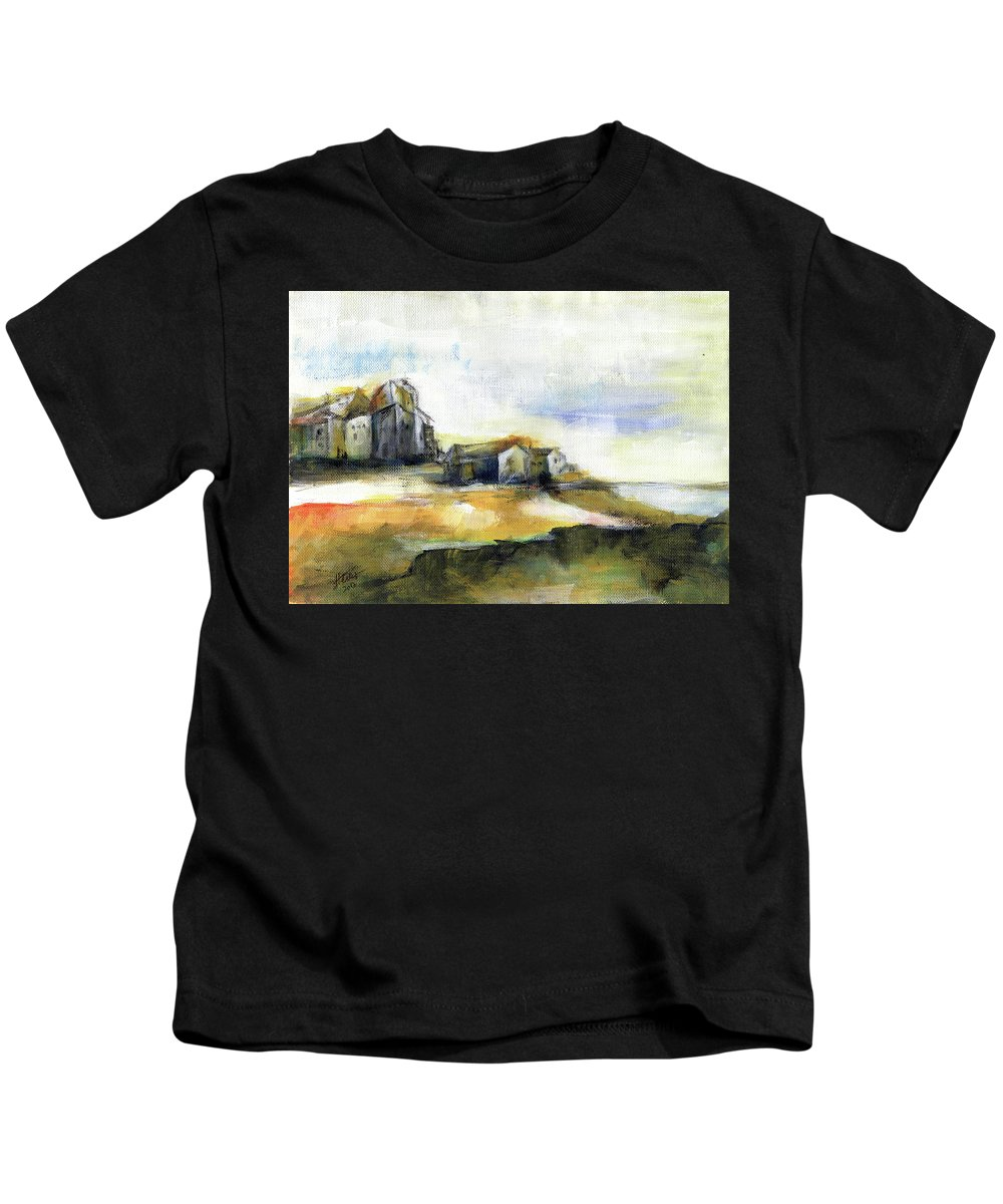 Abstract Landscape Kids T-Shirt featuring the painting The fortress by Aniko Hencz