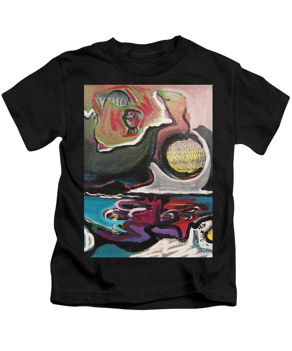 Abstract Paintings Kids T-Shirt featuring the painting The Full Moon2 by Seon-Jeong Kim