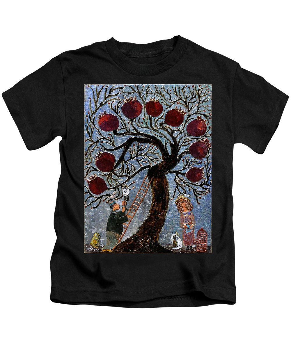 Tree Kids T-Shirt featuring the painting The Garden Of Eden by Maya Gavasheli