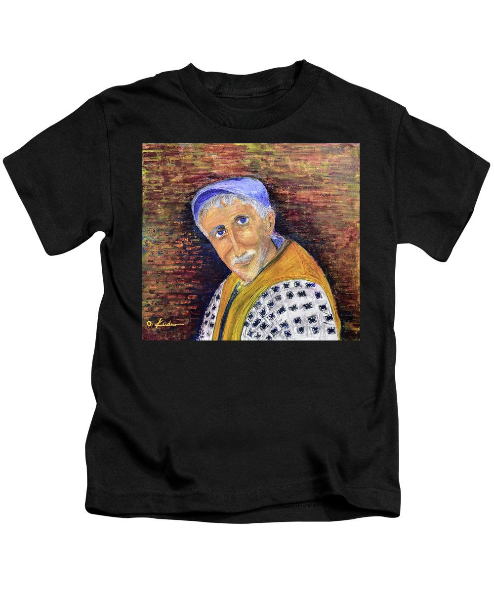 Man Kids T-Shirt featuring the painting The Glance by Ovadia Keidar