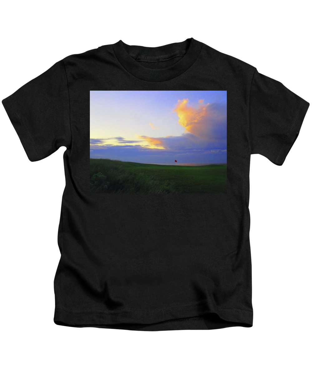 Photo Photograph Image Shot Picture Scotland North Berwick Glen Golf Club Links Flag Pin Sunset Green Hole Number 15 Fifteen Par 5 Five Firth Forth Ocean Sea Cliffs View Coastline Uk United Kingdom Dusk Color Set Clouds Storm East West Lothian Golf Kids T-Shirt featuring the photograph The Glen Golf Club Hole #15 by Scott Carda