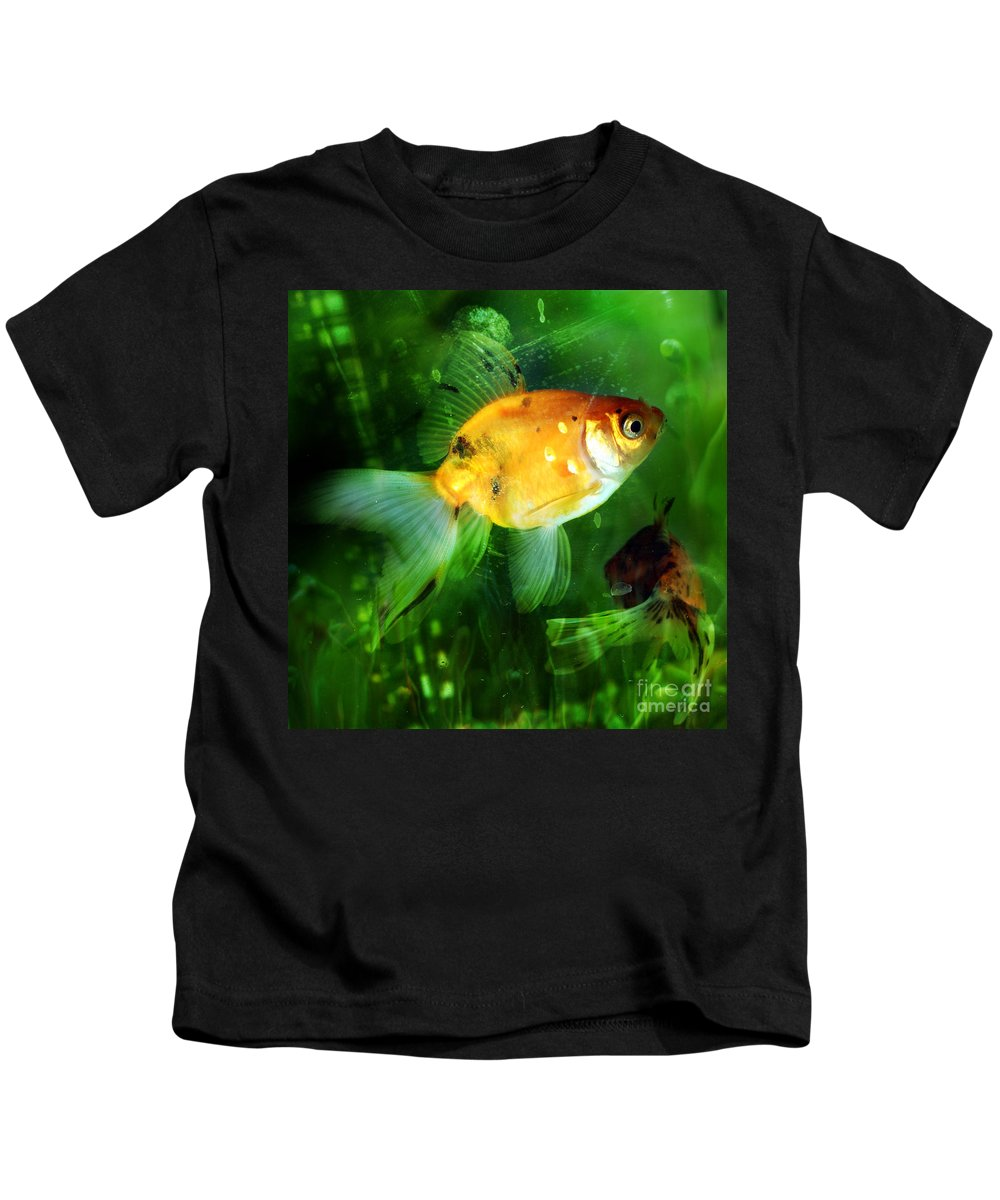 Fish Kids T-Shirt featuring the photograph The Goldfish by Angel Ciesniarska