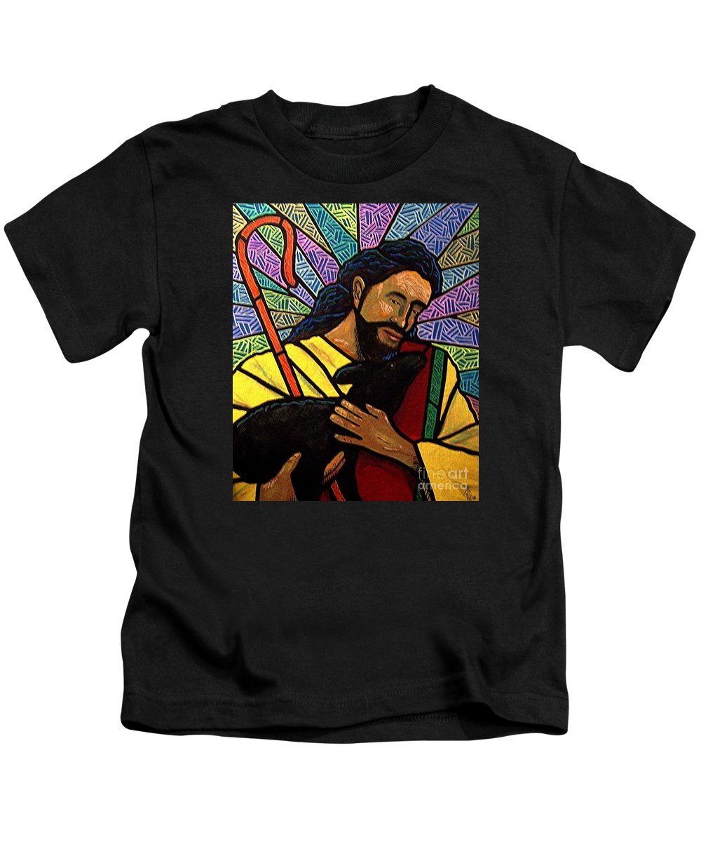 Jesus Kids T-Shirt featuring the painting The Good Shepherd - Practice Painting One by Jim Harris