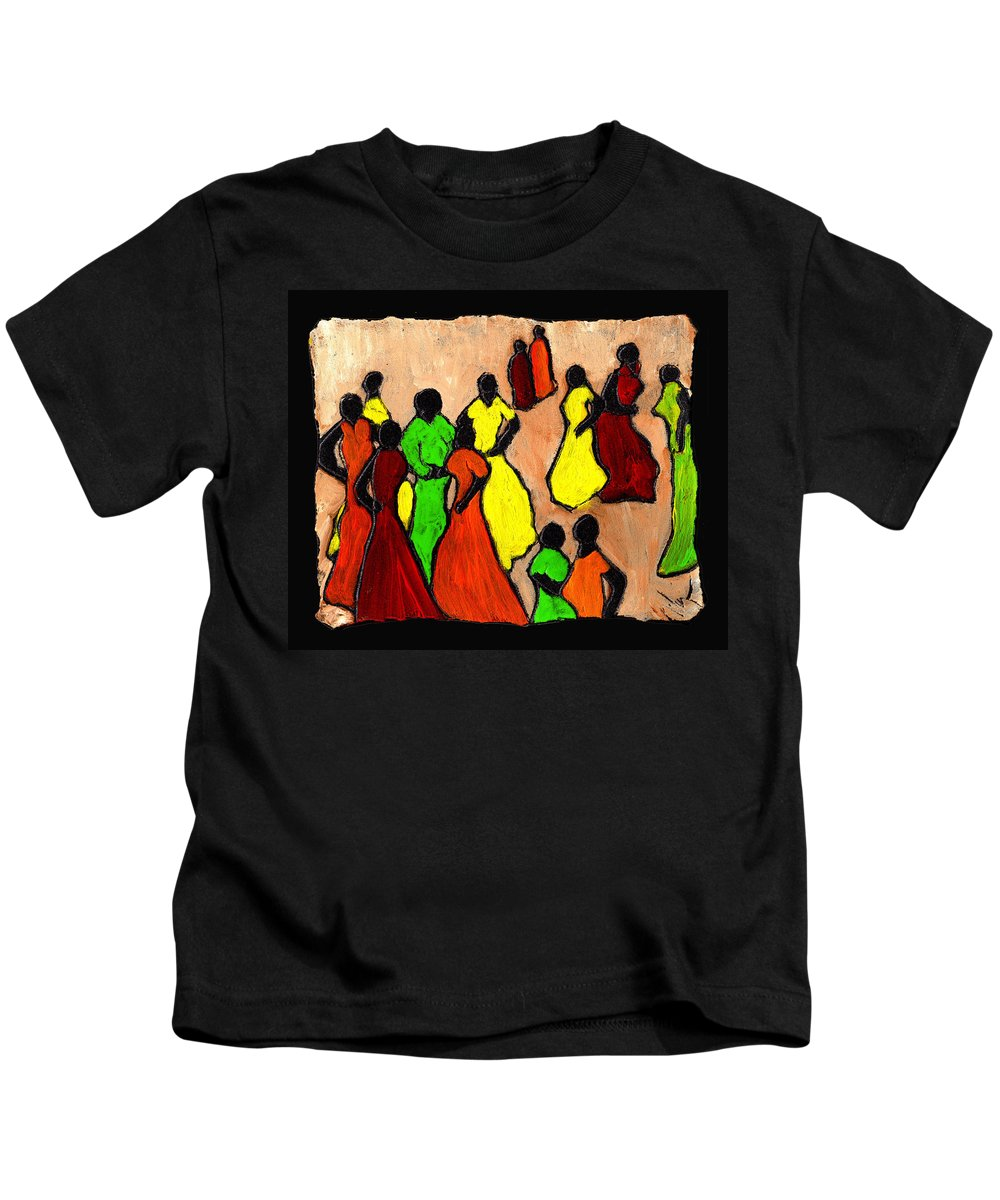Women Kids T-Shirt featuring the painting The Gossips by Wayne Potrafka