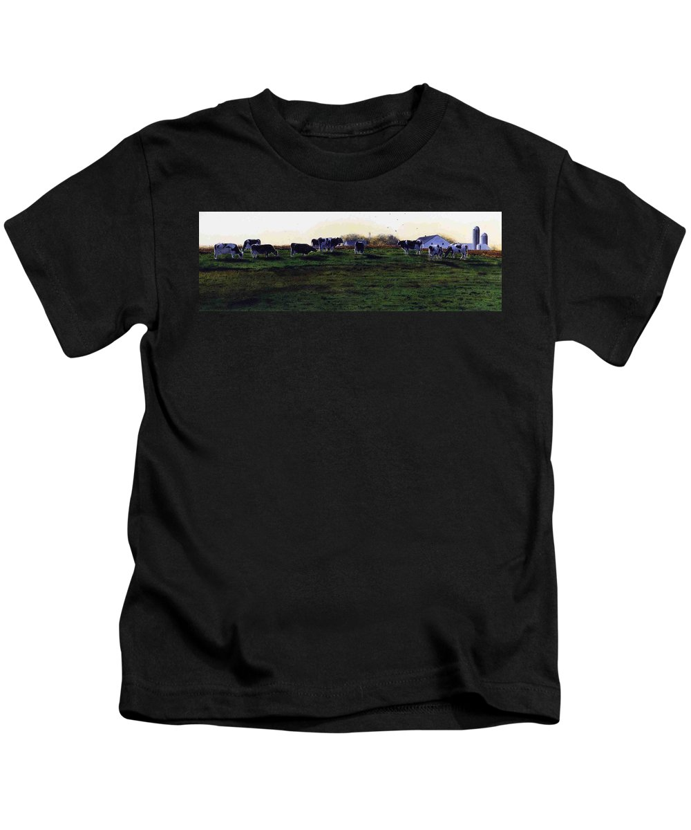 Cows Kids T-Shirt featuring the painting The Grass Is Greener by Denny Bond