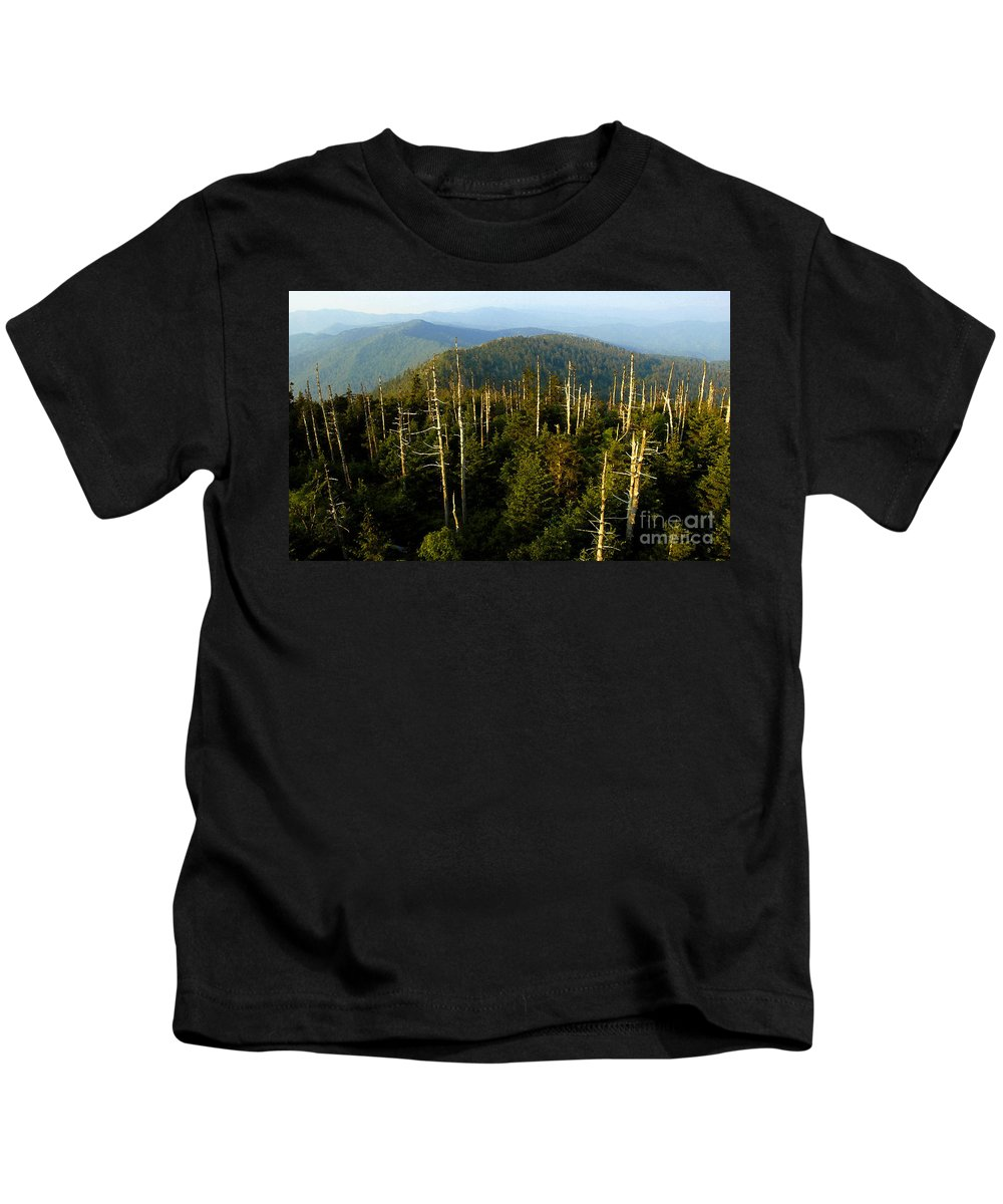 Great Smoky Mountains Kids T-Shirt featuring the painting The Great Smoky Mountains by David Lee Thompson