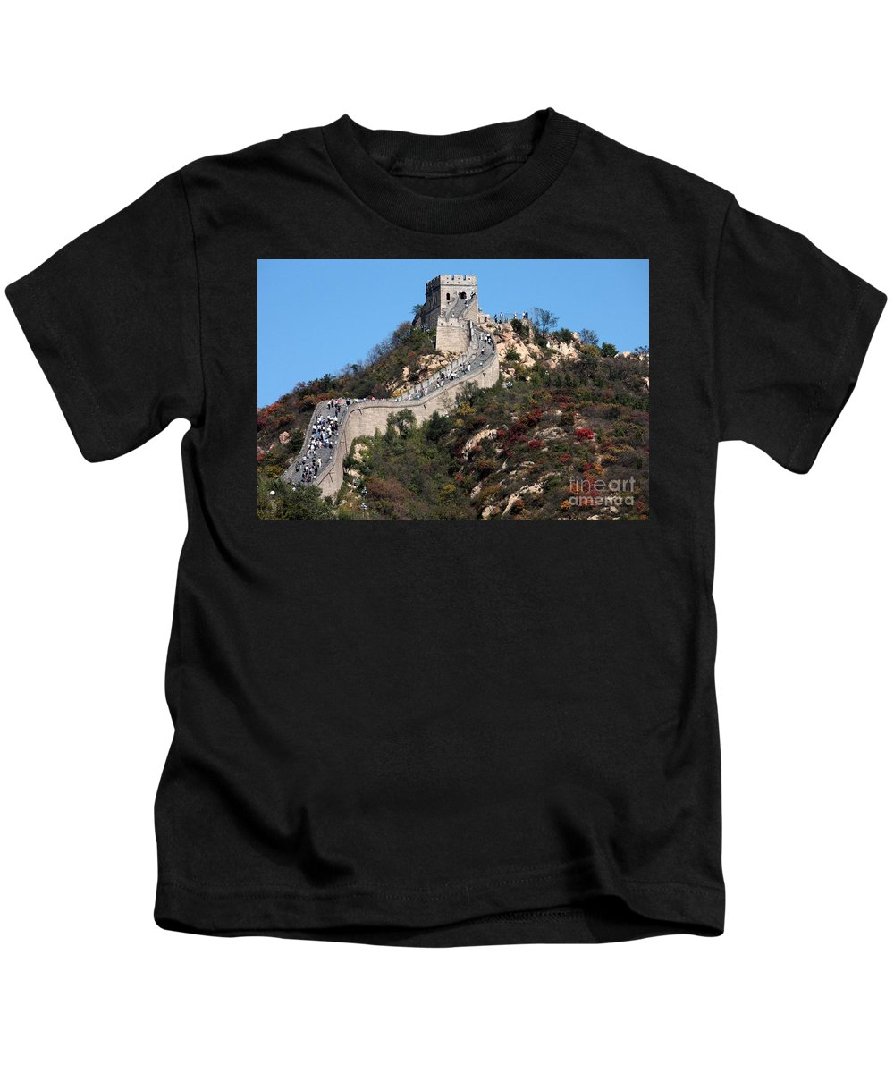 The Great Wall Of China Kids T-Shirt featuring the photograph The Great Wall Mountaintop by Carol Groenen