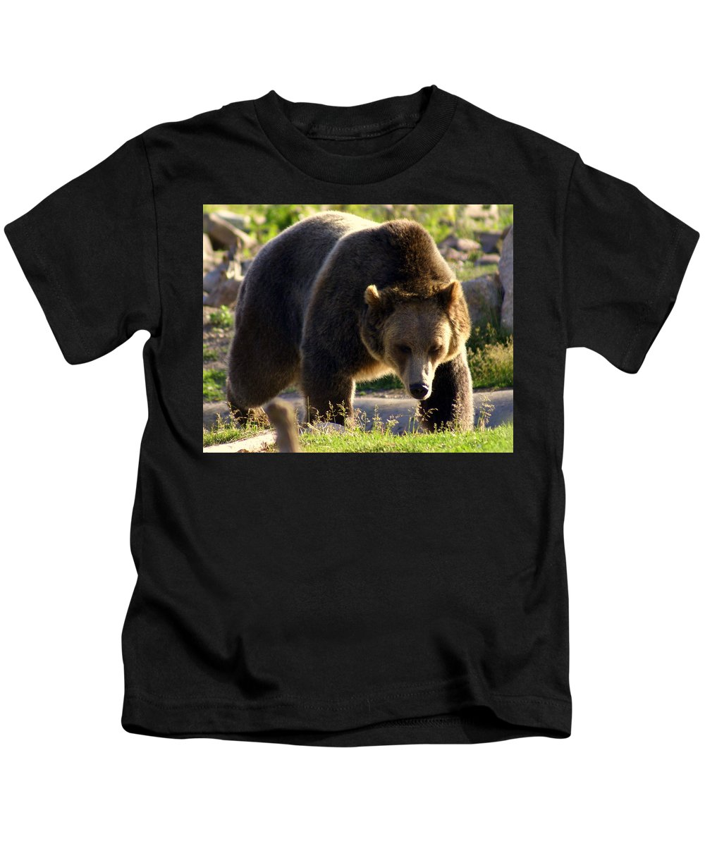 Grizzly Bear Kids T-Shirt featuring the photograph The Grizz by Marty Koch