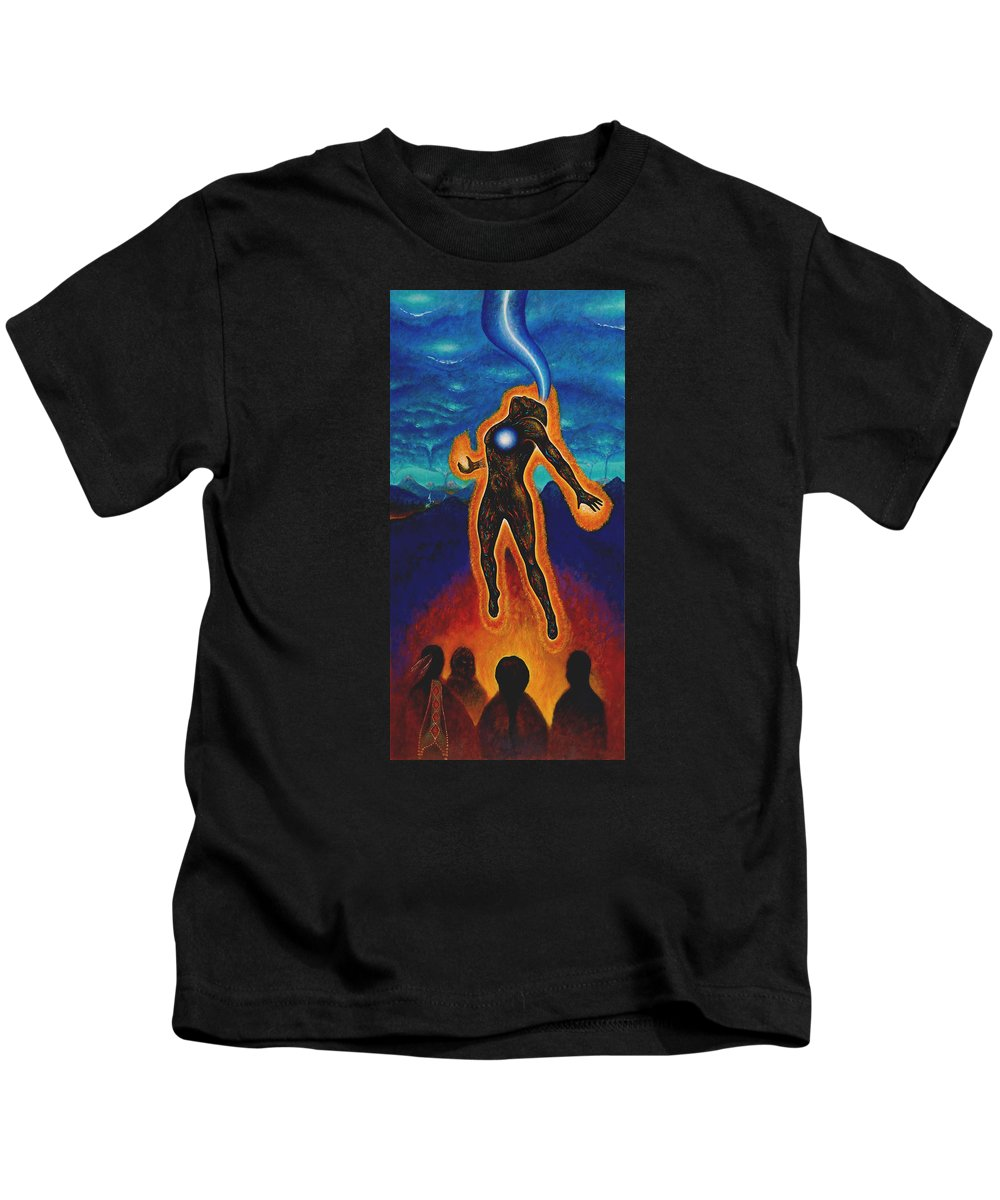 Native American Kids T-Shirt featuring the painting The Harvest by Kevin Chasing Wolf Hutchins