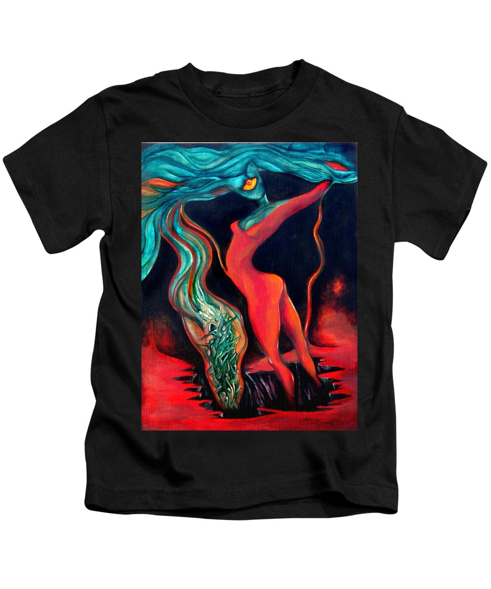 Surrealistic Harvest Red Hearth Woman Kids T-Shirt featuring the painting The Harvest by Veronica Jackson