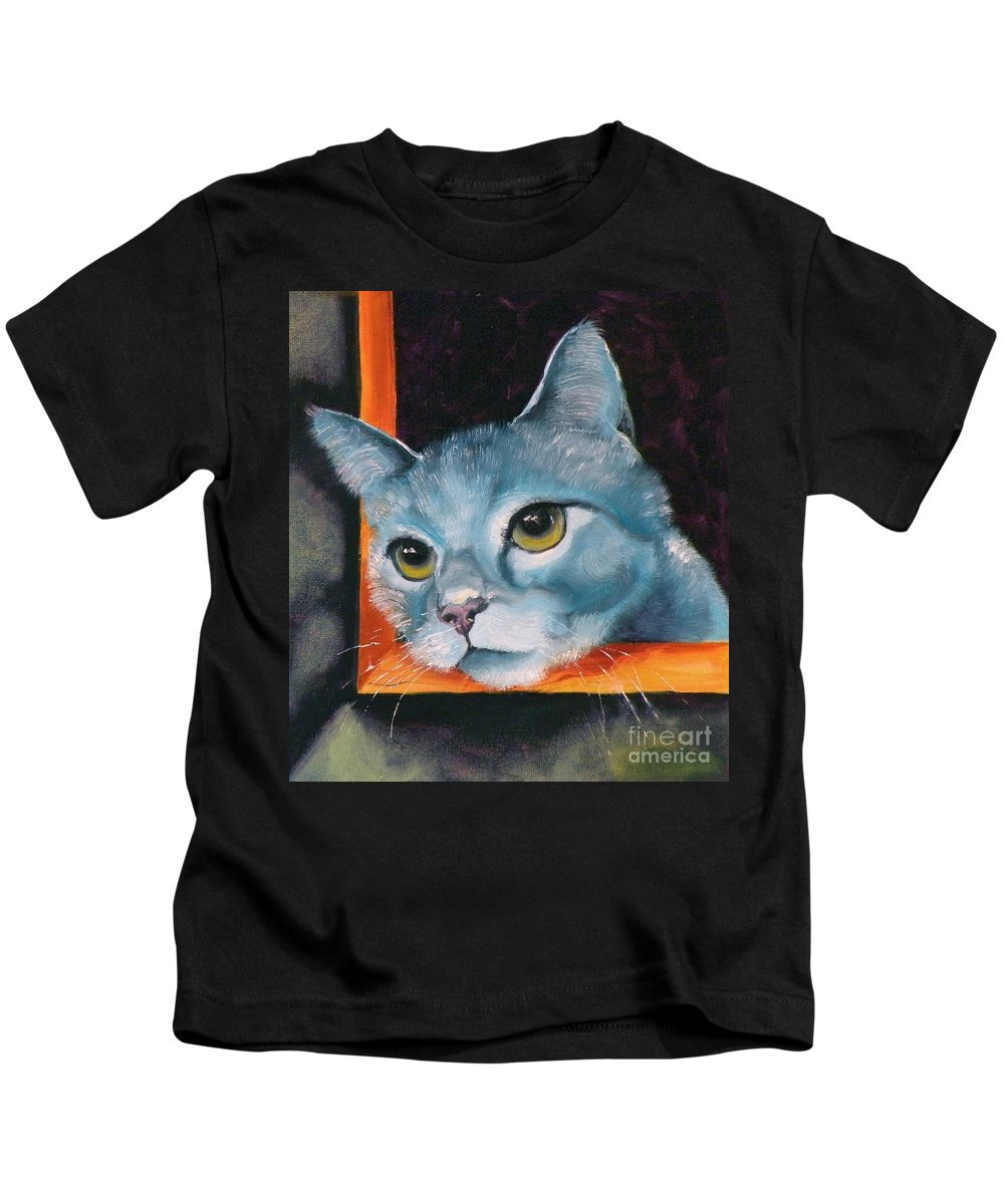 Cat Kids T-Shirt featuring the painting The Heart Is A Lonely Hunter by Susan A Becker