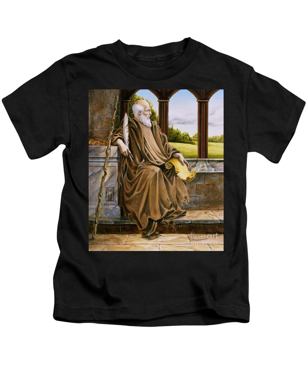 Wise Man Kids T-Shirt featuring the painting The Hermit Nascien by Melissa A Benson