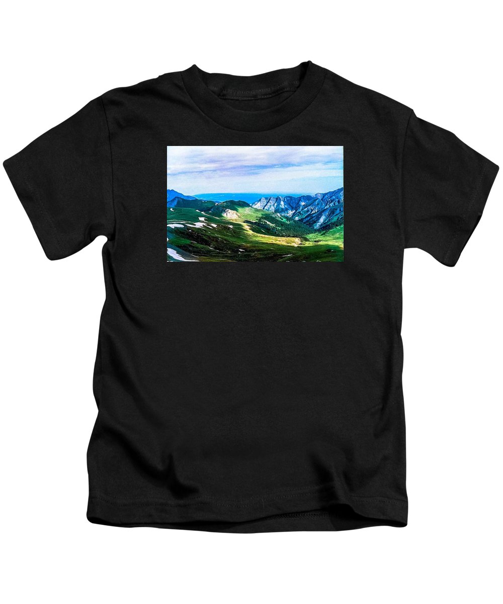 Mountains Kids T-Shirt featuring the photograph The High Road by Tom Zukauskas