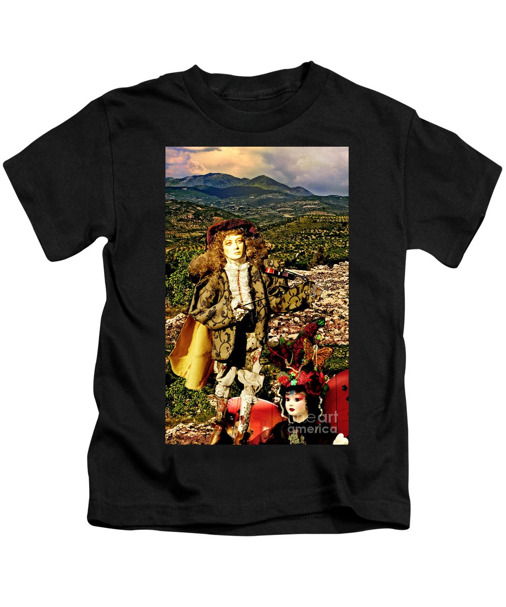 Santorini Kids T-Shirt featuring the photograph The Hills Are Alive In Santorini by Madeline Ellis