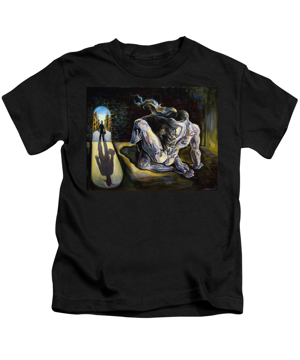 Surrealism Kids T-Shirt featuring the painting The Internal Affair by Darwin Leon