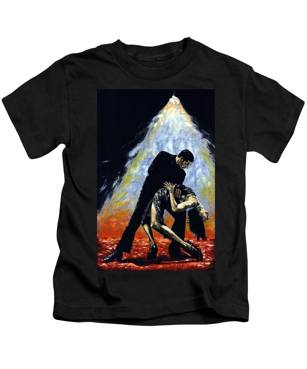 Tango Kids T-Shirt featuring the painting The Intoxication Of Tango by Richard Young