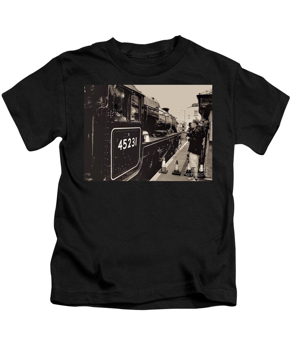 The Jacobite Express Kids T-Shirt featuring the photograph The Jacobite At Mallaig Station Platform 4 by Joan-Violet Stretch
