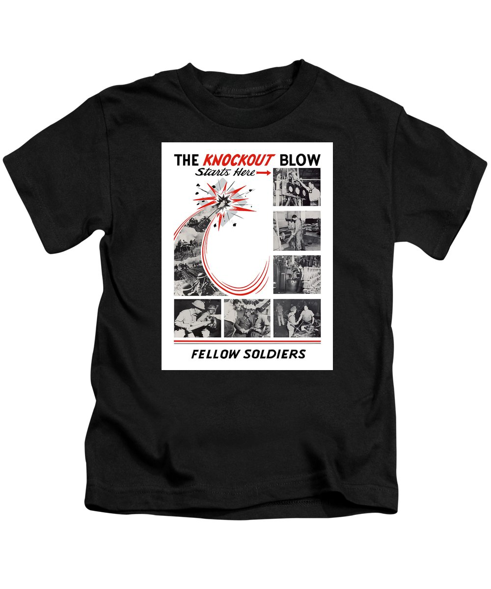 War Production Kids T-Shirt featuring the painting The Knockout Blow Starts Here by War Is Hell Store