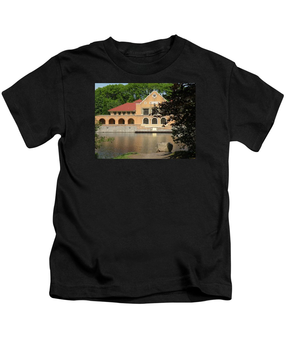 Building Kids T-Shirt featuring the photograph The Lake House by Rosalie Scanlon