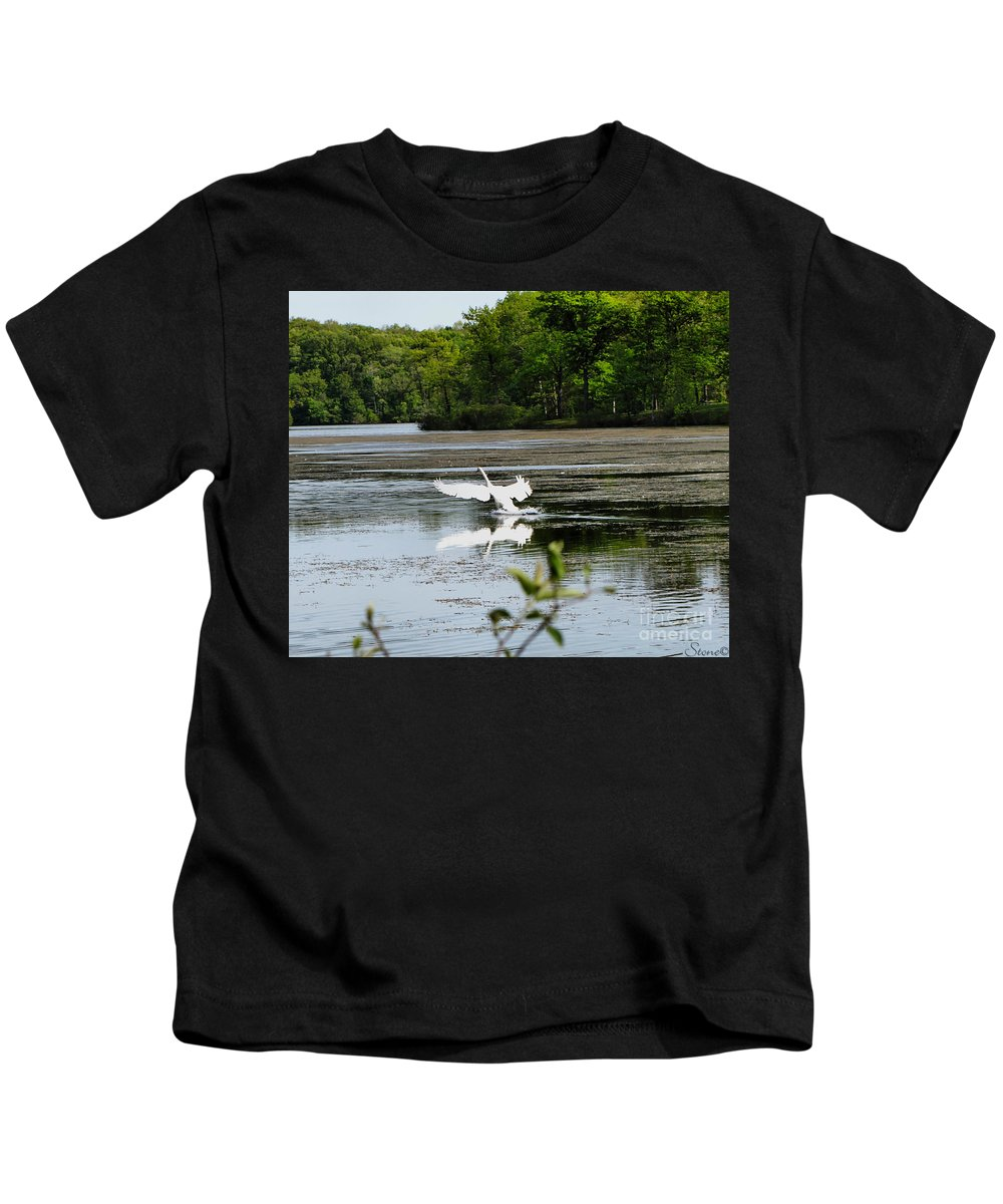 Swan Kids T-Shirt featuring the photograph The Landing by September Stone